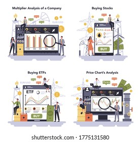 Oil and gas industry set. Fuel factory, barrel with diesel. Industrial exploration of petroleum. Multiplier analysis of a company, buying stocks and ETFs, price chart analysis. Vector illustration