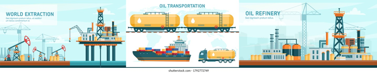 Oil gas industry technology flat vector illustrations. Cartoon infographic presentation with offshore crude extraction, transportation, refinery industrial production set