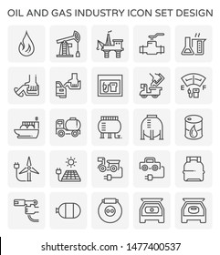 Oil and gas industry and transportation vector icon set for oil and gas industry graphic design element, editable stroke.