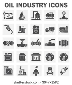 Oil and gas industry vector icon sets.