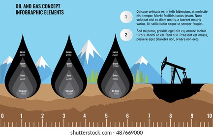 Oil and gas infographic design elements. Oil drop and soil ground and underground layers. Mountain background.