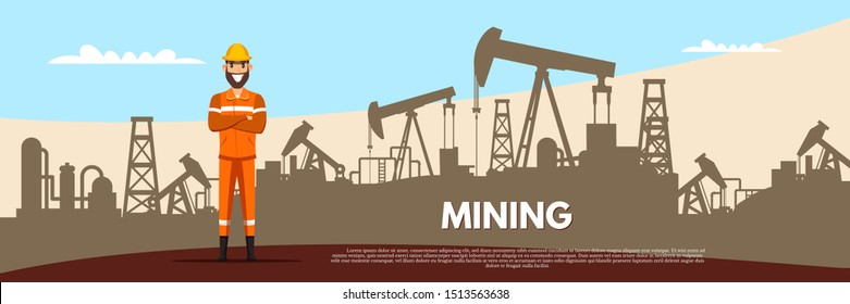 Oil and gas mining flat banner vector template. Miner in helmet cartoon character. Fossil, minerals extraction industry poster layout. Happy worker and heavy machinery illustration with typography