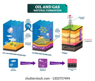 Oil and gas natural formation labeled vector illustration explain scheme. Time line from million years ago to today. Educational drilling technology process to get fossil energy. Resource infographic.
