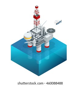 Oil and gas platform in the gulf or the sea. The world energy. Offshore oil and rig construction. Vector isometric icon.