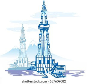 Oil and gas production, drilling rig Against the background of mountains. Illustration, vector