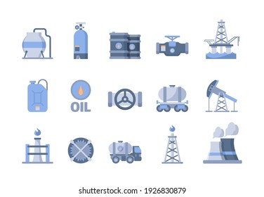 Oil and gas production icons. Nature exploration blue gas oil extraction refinery pipe factory and transporting tanks tower exudes natural energy garish vector symbols