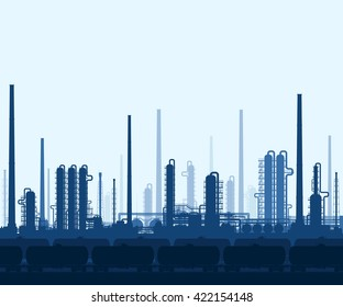 Oil and gas refinery or chemical plant with train tanks. Crude oil processing and refining. Heavy industry blue background. Vector illustration.