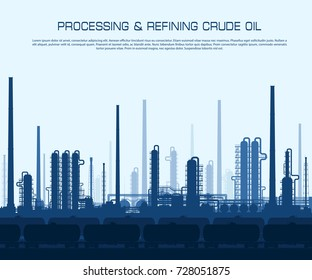 Oil and gas refinery or chemical plant with train tanks. Crude oil processing and refining.  Vector illustration.