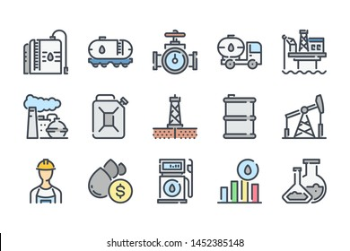 Oil and gas related color line icon set. Fuel industry colorful linear icons. Gasoline flat color outline vector sign collection.