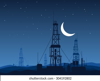 Oil and gas rigs over night desert vector illustration. Industrial landscape background