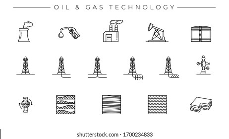 Oil and Gas Technology concept line style vector icons set