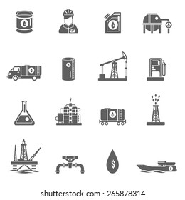 Oil gasoline and fuel extraction industry black icon set isolated vector illustration