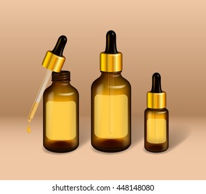 Oil glass bottle mock up. Metal & rubber lid with dropper. Beauty oil / serum / gel cosmetics. Realistic healthcare vector illustration.