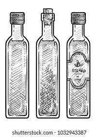Oil glass illustration, drawing, engraving, ink, line art, vector