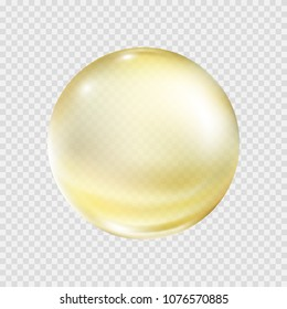 Oil gold bubble isolated on transparent background. Cosmetic pill capsule of vitamin E, A or argan oil. Golden glass ball template. Vector realistic yellow serum droplet of drug or collagen essence.