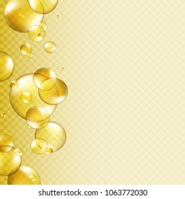 Oil gold bubbles isolated on transparent background. Cosmetic pill capsule of vitamin E, A or argan oil. Golden glass balls template. Vector realistic serum droplets of drug or collagen essence.