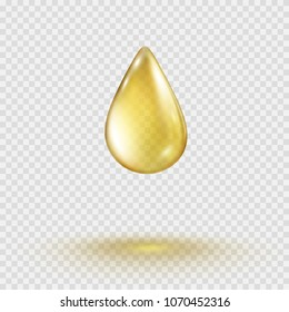 Oil gold drop isolated on transparent background. Cosmetic spa serum bubble of vitamin E or argan oil. Golden gel template. Vector realistic fresh juice fruit droplet for your advertising design.