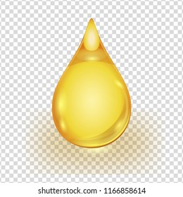 Oil gold drop isolated on transparent background