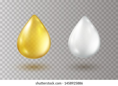 Oil gold and white cream drops isolated on transparent background. Cosmetic spa serum bubble of vitamin E or argan oil. Vector golden gel, honey or milk droplets elements design.
