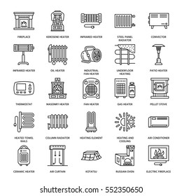 Oil heater, fireplace, convector, panel column radiator and other house heating appliances line icons. Home warming thin linear pictogram such as kotatsu, Russian oven. Equipment store signs