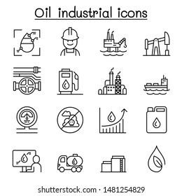 Oil icon set in thin line style