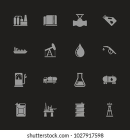 Oil icons - Gray symbol on black background. Simple illustration. Flat Vector Icon.
