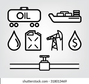 oil icons, petrol and fuel. business and black gold