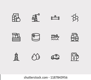 Oil icons set. Chemical reaction and oil icons with oil drop, water factory and oil pump. Set of renewable for web app logo UI design.