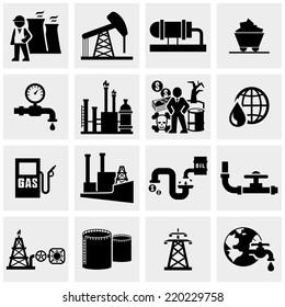 Oil  icons set on gray