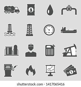 Oil Icons. Sticker Design. Vector Illustration.