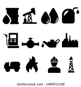 Oil Icons vector set. Barrel symbol illustration collection. energy sign or icon.