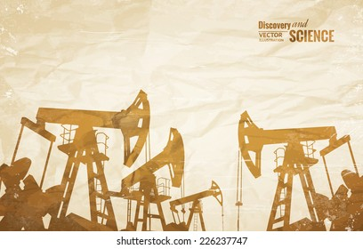 Oil industry background with oil pumps over old paper. Vector illustration.