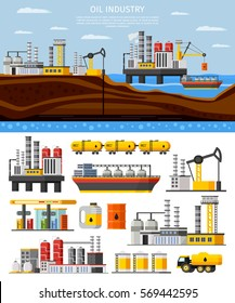 Oil industry composition with manufacturing extraction storage transportation elements and objects vector illustration