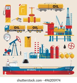Oil industry decorative icons set with extractive sea platform ship and railway tank pipeline isolated vector illustration