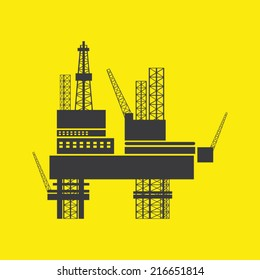 oil industry design over background vector illustration . Silhouette of Offshore Jack Up Rig