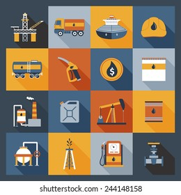 Oil industry drilling gas terminal fuel canister icons flat set isolated vector illustration
