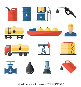 Oil industry drilling refining process petroleum transportation flat icons set with oilman and pump flat isolated vector illustration