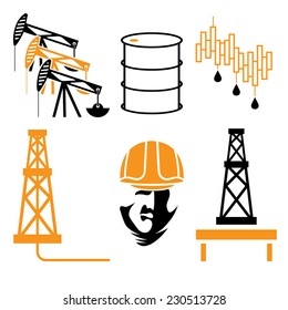 oil industry elements and symbol of fall and rise of oil prices