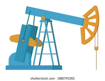 Oil industry equipment, Pumpjack and oil barrels, Overground drive for a reciprocating piston pump in an oil well. Working pumps and drilling rig, technilogical machine isolated on white background