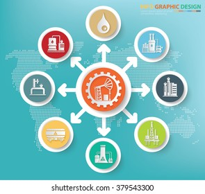 Oil industry and factory concept info graphics design,clean vector