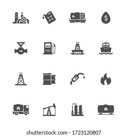 Oil industry flat icons in gray. Set of 16 pieces.