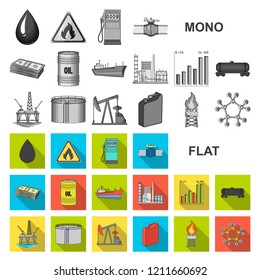 Oil industry flat icons in set collection for design. Equipment and oil production vector symbol stock web illustration.