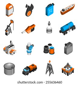 Oil industry gasoline processing petroleum transportation isometric icons set isolated vector illustration