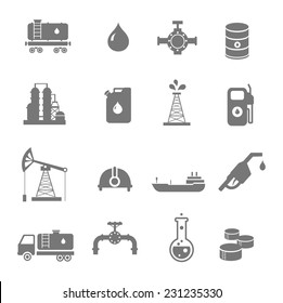Oil industry gasoline processing  symbols icons set with oilman  tanker truck petroleum can and pump isolated vector illustration