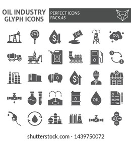 Oil industry glyph icon set, fuel production symbols collection, vector sketches, logo illustrations, nature resources signs solid pictograms package isolated on white background, eps 10.