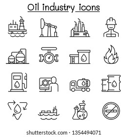 Oil industry icon set in thin line style
