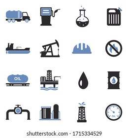 Oil Industry Icons. Two Tone Flat Design. Vector Illustration.