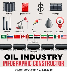 Oil Industry Infographic design Elements. Petroleum production and value in different countries. Vector Illustration.