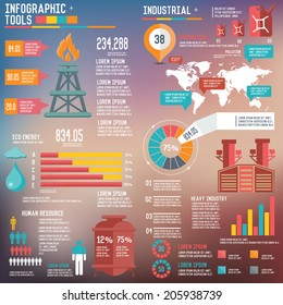 Oil Industry Infographic Elements on blur background,clean vector