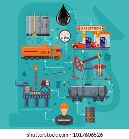 Oil industry Infographics with Flat Icons extraction production and transportation oil and petrol with oilman, rig and barrels. Isolated vector illustration.